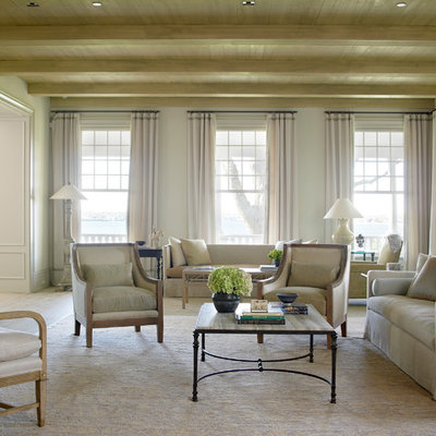 Living room - traditional formal living room idea in New York with white walls