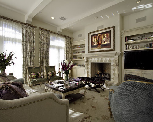 Elegant Living Room Photo In Other With A Tile Fireplace Part 58