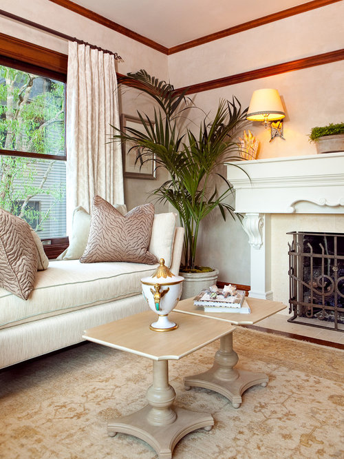 Superior Victorian Living Room Idea In Portland With Beige Walls And A Standard  Fireplace