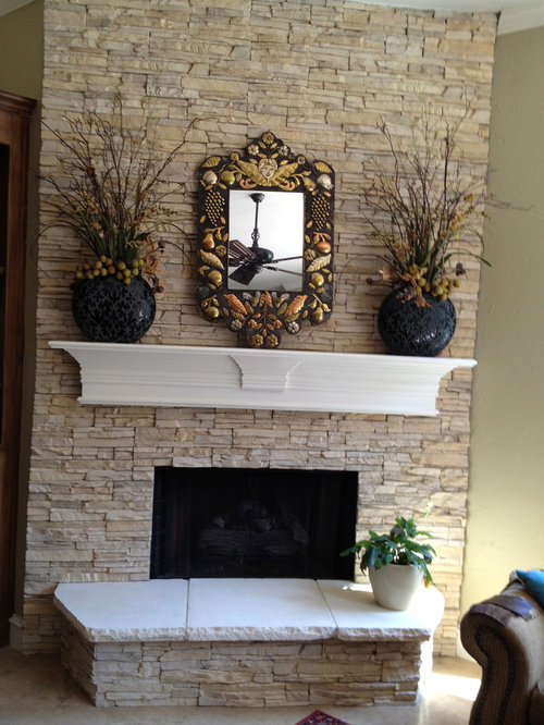 Faux stone fireplace houzz - Rockabilly mantel ...