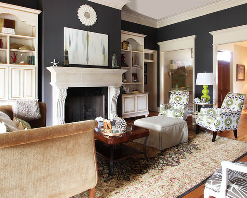Elegant Living Room Photo In New Orleans With Gray Walls