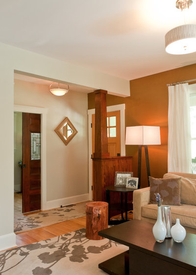 No entry hall create the illusion of one for Entryway into living room ideas