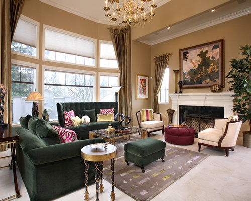 Emerald green sofa houzz for Green and beige living room ideas