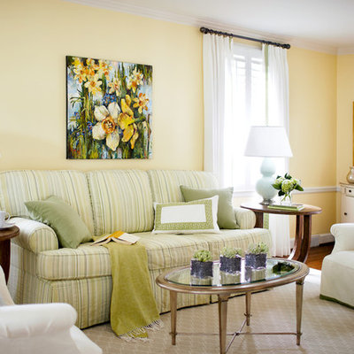 Mid-sized elegant formal living room photo in Raleigh with yellow walls