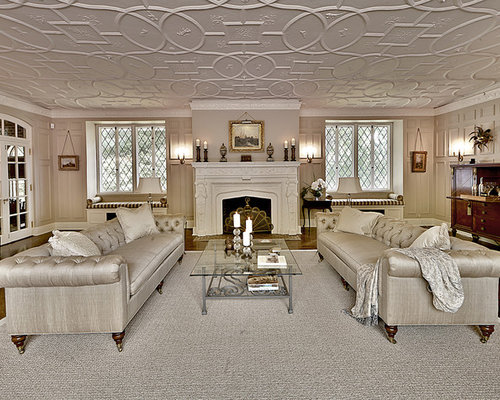 Charming Huge Traditional Living Room Idea In New York With Beige Walls And A  Standard Fireplace Photo