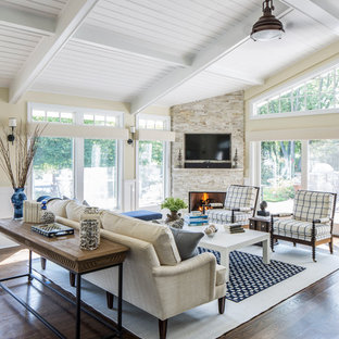 Inspiration For A Mid Sized Timeless Open Concept And Formal Dark Wood  Floor Living Room