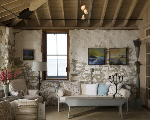 Inspiration For A Small Farmhouse Living Room Remodel In Portland Maine