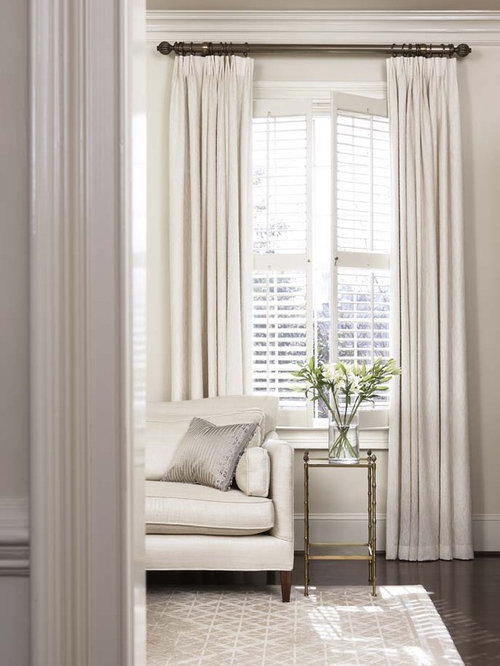 Plantation Shutter Curtain Houzz - Curtains for 3 windows in a row