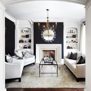 ダラスのトラディショナルスタイルのおしゃれな独立型リビング (フォーマル、黒い壁、濃色無垢フローリング、標準型暖炉、テレビなし) の写真
