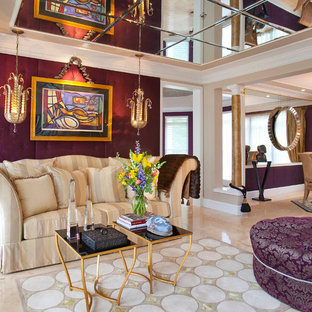 Inspiration for a large timeless open concept limestone floor and beige floor living room remodel in DC Metro with purple walls and no tv