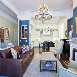 Inspiration for a timeless brown floor living room remodel in San Francisco with blue walls