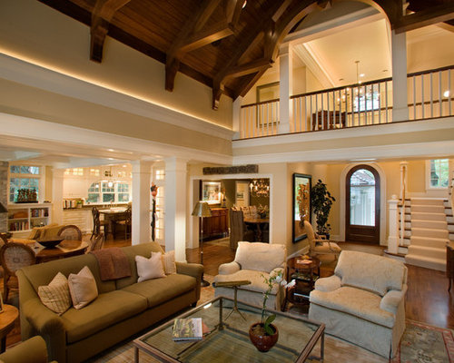 rustic high ceiling open concept photos - Open Concept Design Ideas