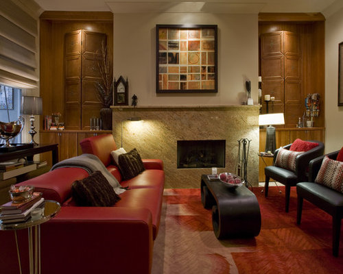 Traditional Enclosed Living Room Idea In Other With Beige Walls Part 75