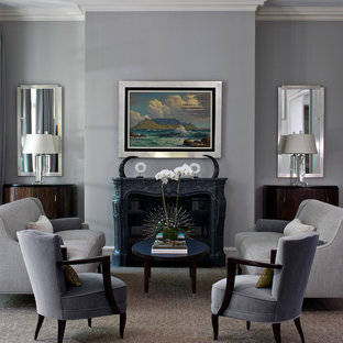 Living room - traditional living room idea in Chicago with gray walls