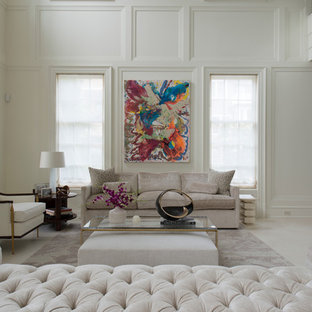 Large elegant formal and open concept limestone floor living room photo in DC Metro with white walls