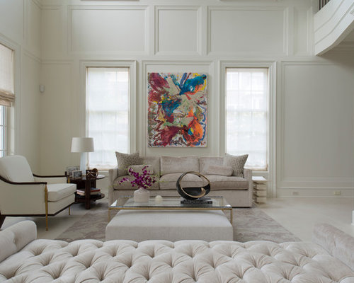 Large Elegant Formal And Open Concept Limestone Floor Living Room Photo In  DC Metro With White