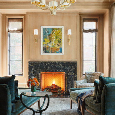 Living room - traditional gray floor living room idea in Chicago with brown walls, a standard fireplace and a stone fireplace