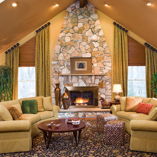 Inspiration for a mid-sized timeless open concept and formal light wood floor and beige floor living room remodel in Newark with yellow walls, a standard fireplace and no tv