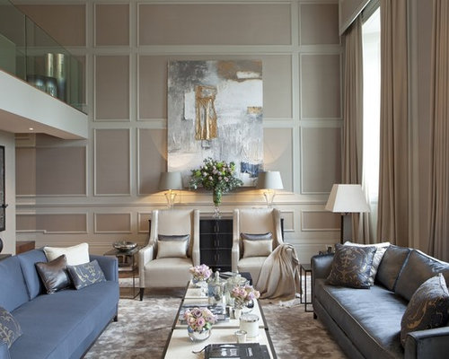 Attractive Example Of A Classic Formal Medium Tone Wood Floor Living Room Design In  London With Beige Part 11