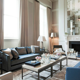 Living room - traditional living room idea in Other with gray walls and a standard fireplace
