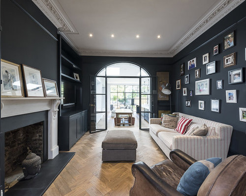 Inspiration For A Traditional Enclosed Living Room In London With Black  Walls, Medium Hardwood Flooring Part 74