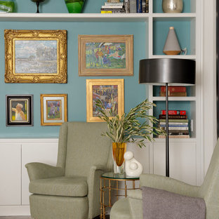 Inspiration for a timeless beige floor living room remodel in Los Angeles with blue walls
