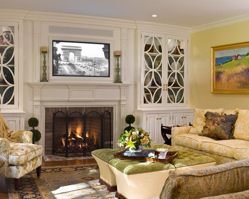 Built in sound bar tv mount home design ideas pictures - Mantel decor ideas with tv ...
