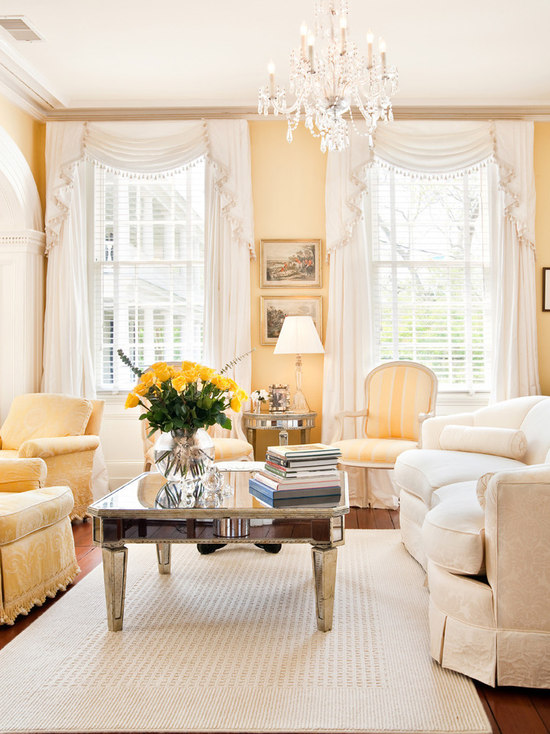 yellow walls with curtains | houzz