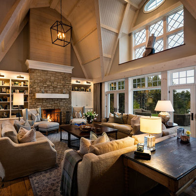 Living room - mid-sized cottage formal and open concept dark wood floor and blue floor living room idea in Milwaukee with white walls, a stone fireplace, no tv and a standard fireplace