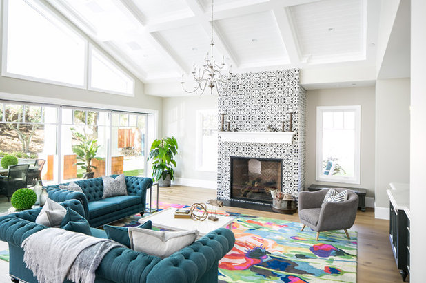 Transitional Living Room by James David Custom Homes