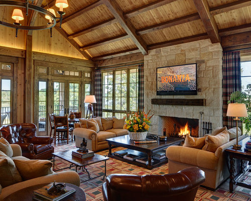 Country Formal Open Concept Living Room In San Francisco With A Standard  Fireplace, A Stone Part 89