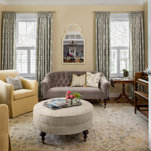 Inspiration for a medium sized traditional formal enclosed living room in DC Metro with yellow walls, dark hardwood flooring, no fireplace and no tv.