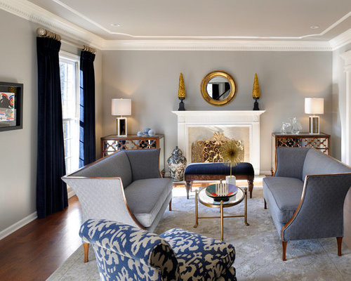 Example Of A Classic Formal And Enclosed Dark Wood Floor Living Room Design In St Louis