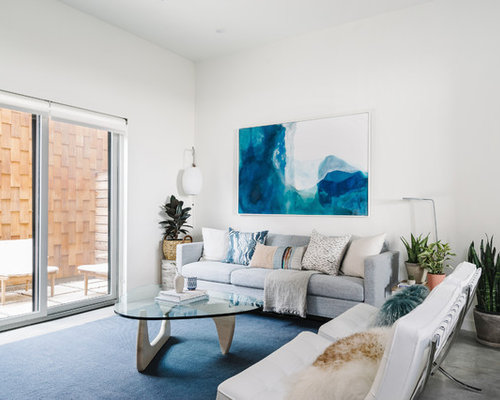 Mid Sized Coastal Open Concept And Formal Concrete Floor And Gray Floor Living  Room Photo