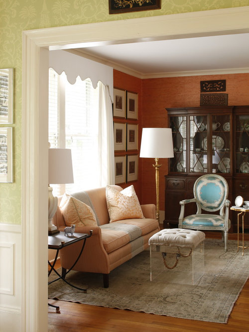 Yellow living room design ideas renovations photos with for Orange walls living room designs