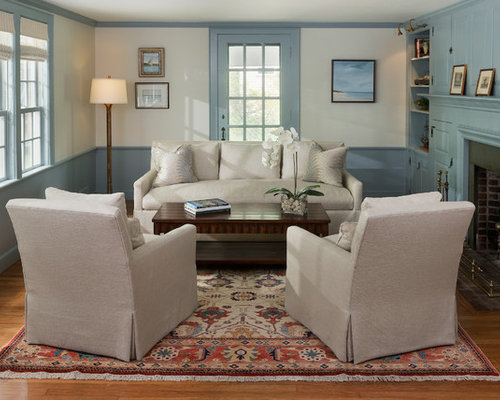 small formal enclosed living room idea in boston with blue walls medium tone hardwood - Lee Industries Sofa