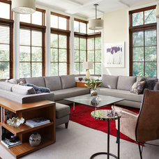 Transitional Living Room by Morgante Wilson Architects
