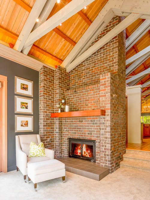 Red Brick Fireplace Wall