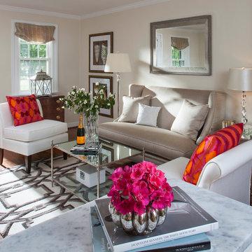 Transitional Kitchen & Living Room