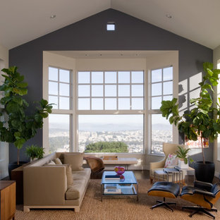 Inspiration for a mid-sized transitional formal and open concept dark wood floor living room remodel in San Francisco with gray walls, no fireplace and no tv