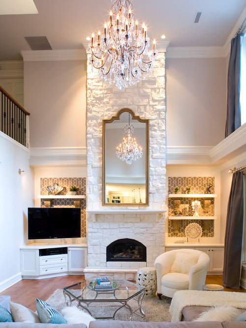 White Stone Fireplace Houzz