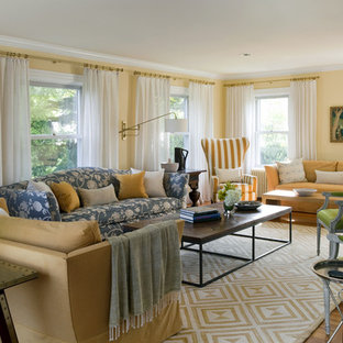 Example of a transitional living room design in Providence