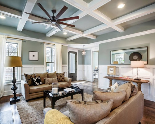 Example Of A Large Transitional Open Concept Living Room Design In Wilmington With Gray Walls And