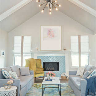 Inspiration for a transitional formal medium tone wood floor living room remodel in Oklahoma City with gray walls, a standard fireplace and a tile fireplace