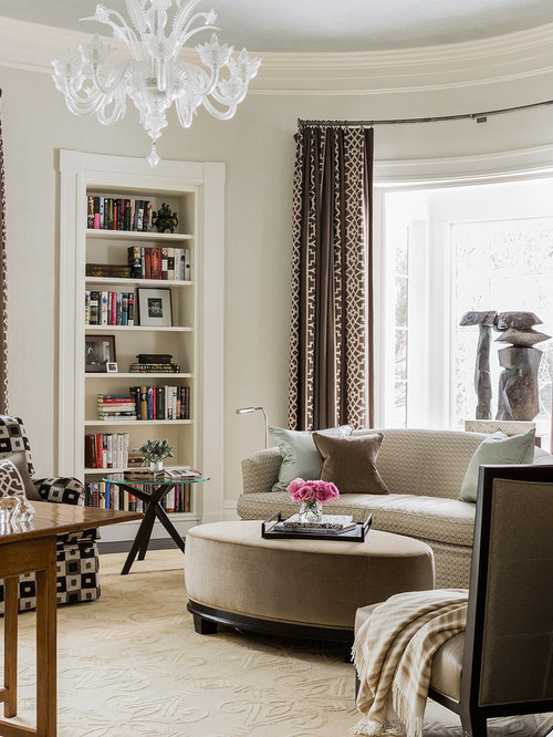 Inspiration For A Transitional Living Room Remodel In Boston With Library And Beige Walls