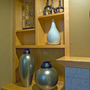 ミネアポリスの中くらいのトランジショナルスタイルのおしゃれな独立型リビング (ベージュの壁、カーペット敷き、標準型暖炉、タイルの暖炉まわり、壁掛け型テレビ) の写真