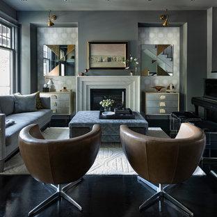 Ejemplo de salón con rincón musical clásico renovado con paredes grises, suelo de madera pintada, chimenea tradicional y suelo negro