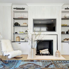 Transitional Living Room by Val Florio AIA Architect