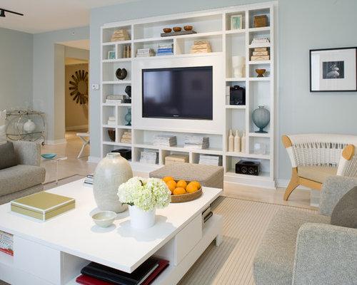 Salon avec un mur bleu meuble tv encastré : photos et idées déco ...