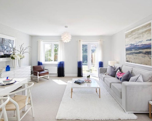 This Is An Example Of A Classic Open Plan Living Room In Other With Grey Walls
